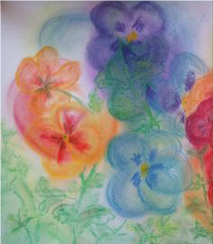 Pasteltekenen van geneeskrachtige voorjaarsbloemen